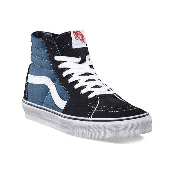 vans high tops vans sk8-hi top sneaker - navy skate shoes ($60) ❤ liked on OMEVWTX