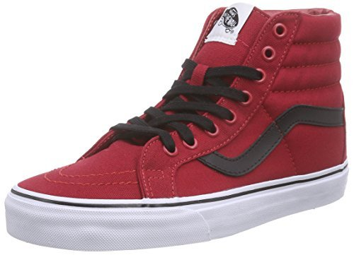 vans high tops vans unisex sk8-hi reissue (canvas) chili pepper/bla skate shoe 8.5 men us  / 10 MTYPUAW