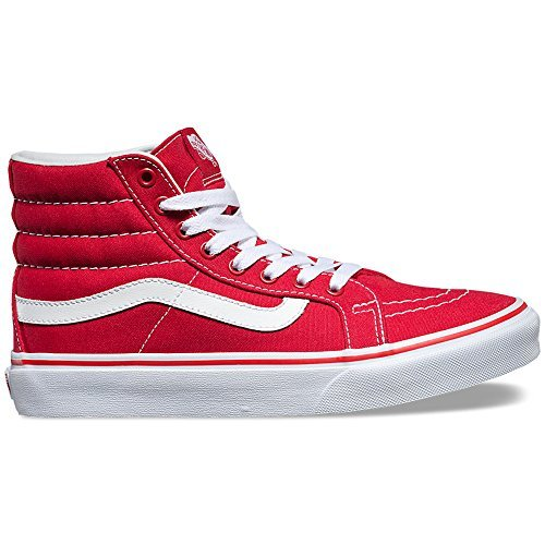 vans high tops vans unisex sk8-hi slim skate shoe-racing red/true white-10-women/8.5-men JCMWPNH