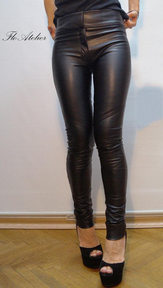 vegan leather pants/stretchy pants/leggings/skinny pants/black vegan leather  pants VYGDJWB