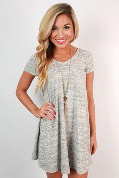 venice v-neck tunic dress in grey JNTAPUT
