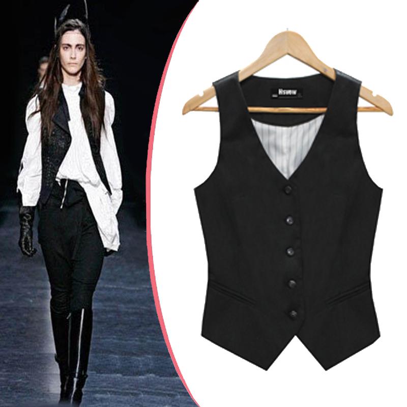 vest for women fashion single breasted patchwork slim waist waistcoat slim v-neck formal vest  womenu0027s black shrug XIEULHQ