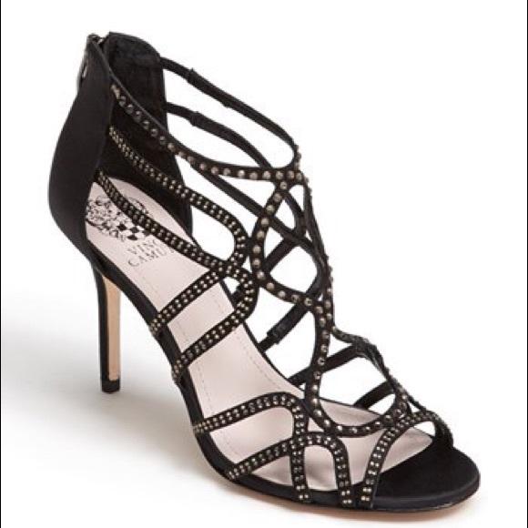 vince camuto shoes black satin, vc-wessi, vince camuto heels DKHLUCU