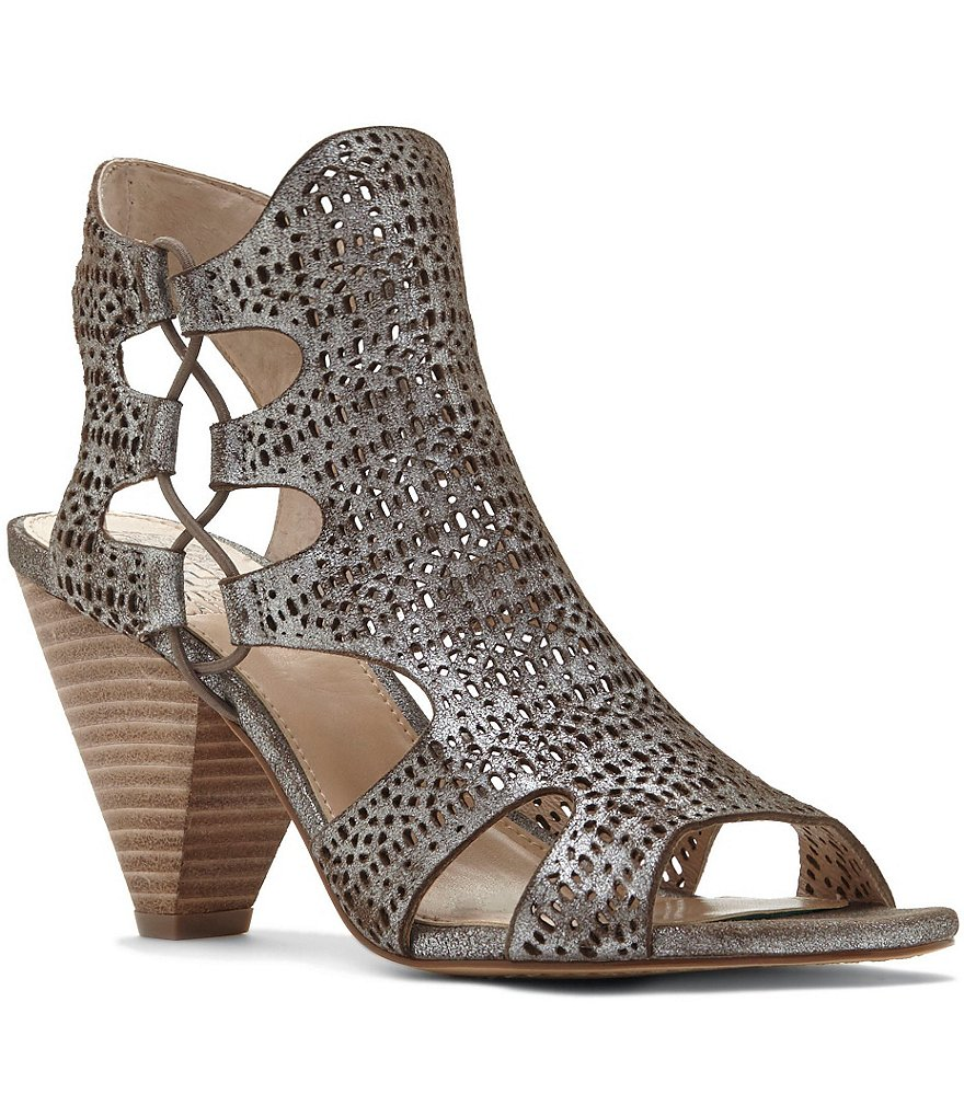 vince camuto shoes vince camuto eadon metallic lasercut suede peep-toe booties YGSHQEU