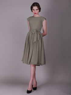 vintage bridesmaid dresses cap sleeved vintage bridesmaid dress with faux buttons OIOQDUN
