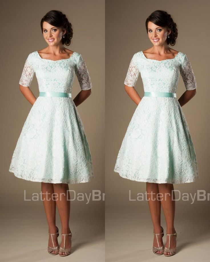 vintage bridesmaid dresses cheap vintage mint lace knee length short modest bridesmaid dresses with  half sleeves sashes ITLGLZD