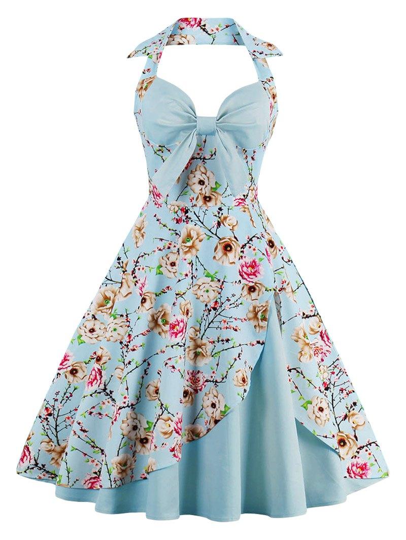 vintage dresses ... halter neck floral pin up a line dress - cloudy m ... JPLXAQU