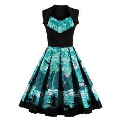 vintage dresses knee length fit and flare print vintage dress - black 2xl PJJNXTM