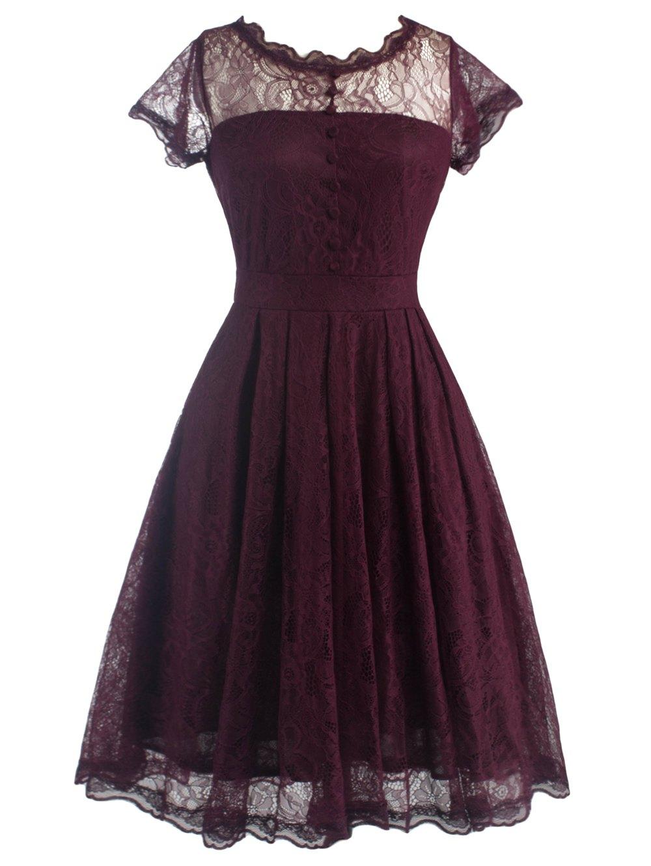 vintage dresses ... lace a line vintage dress - wine red 2xl ... AUOMVPW