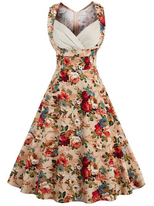 vintage dresses retro style high-waisted floral print womenu0027s dress - khaki xl ... GSUUCBI