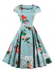 vintage dresses retro sweetheart neck cape sleeve floral print flare dress BNSESLD