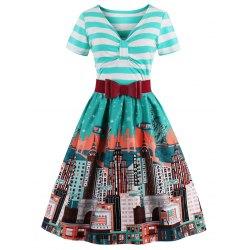 vintage dresses striped bowknot printed flare dress - cyan l WNIYITP