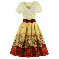 vintage dresses v neck fit and flare print vintage dress - yellow xl QBVSBPO
