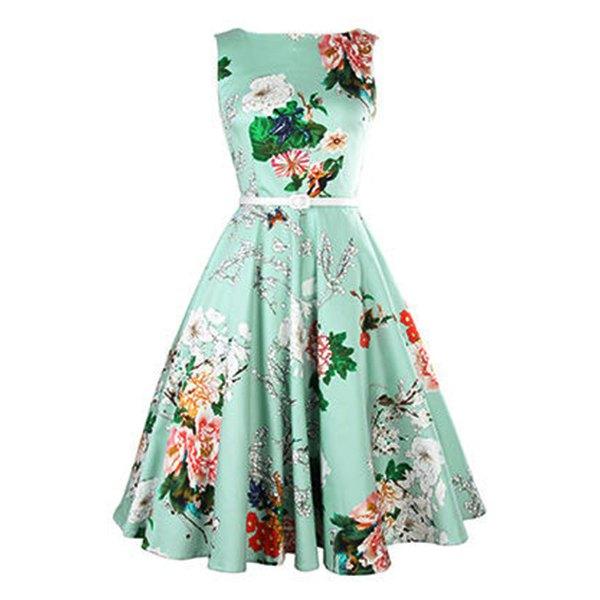 vintage dresses vintage jewel neck sleeveless floral print belted a-line tea dress for women VMOPQBF