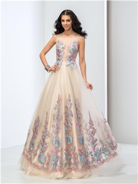 vintage prom dresses 75 charming applique a-line lace-up floor length evening dress AFRMHEK