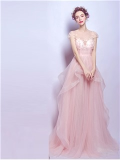 vintage prom dresses a-line cap sleeves long prom dress with court train HVLIOQL