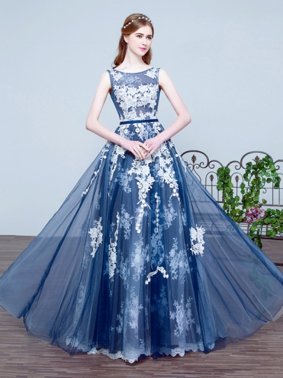 vintage prom dresses a-line scoop appliques pleats floor-length prom dress UDSZIUO