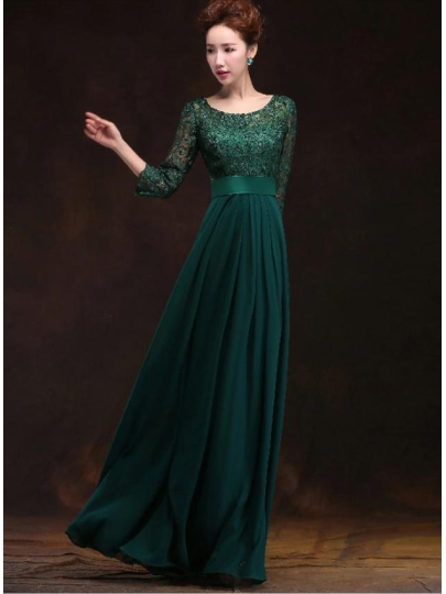 vintage prom dresses a-line scoop pleats zipper-up lace evening dress TUMLDZE