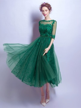 vintage prom dresses half sleeves appliques button tea-length prom dress CLSKKVR