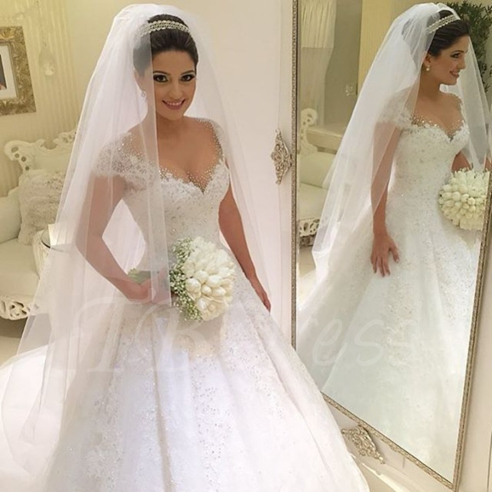 wedding dresses ... beading lace ball gown princess wedding dress TCJQCUM