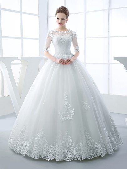 wedding dresses half sleeves scoop neck appliques beading ball gown wedding dress u0026 elegant wedding  dresses ZGKYSKY