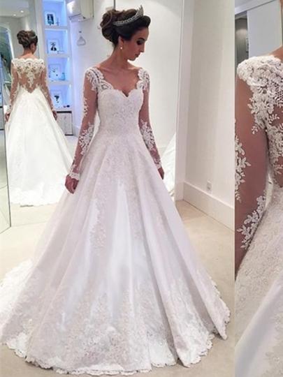 wedding dresses v-neck long sleeves appliques a line wedding dress CCKQZMC