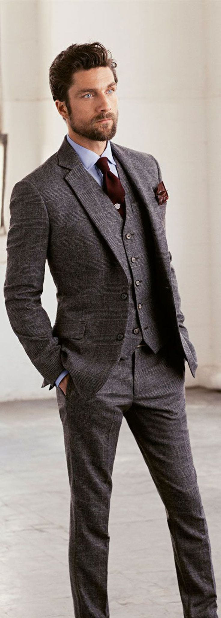 wedding ideas by colour: grey wedding suits - alternative fabric | chwv JJBAIMO
