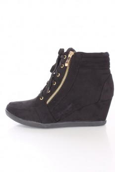wedge sneakers black lace up tie sneaker wedges faux suede LSXDQYU