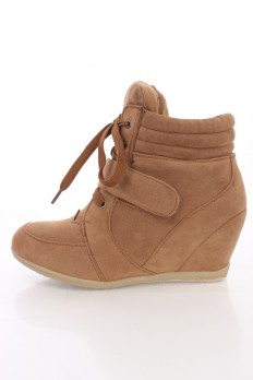 wedge sneakers camel lace up mid strap sneaker wedges faux suede IAQHXUO