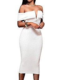 white dresses for women alvaq womenu0027s sexy v neck off the shoulder evening bodycon club midi dress QTCUIWC
