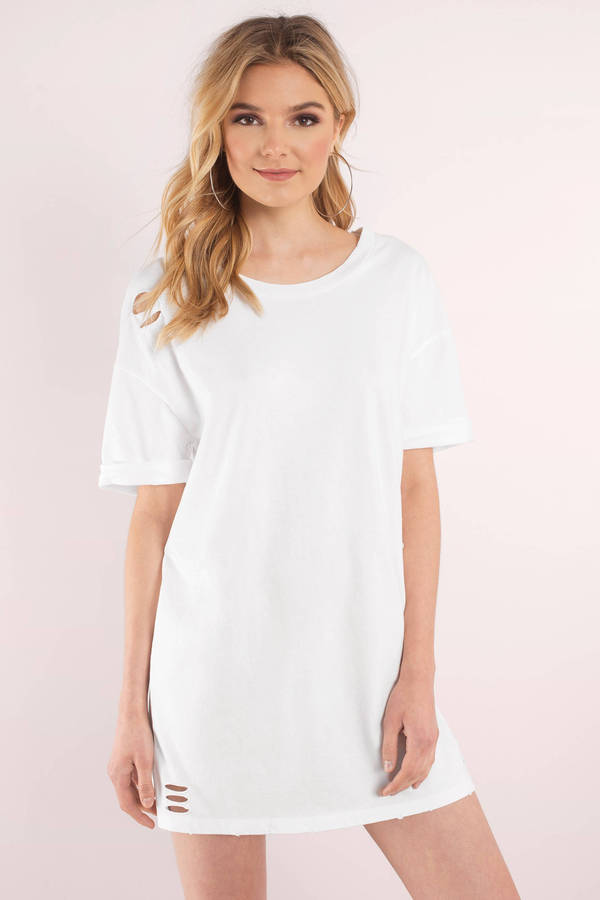 white dresses for women ... tobi white dresses, white, bay area distressed t-shirt dress, tobi QCYFPIE