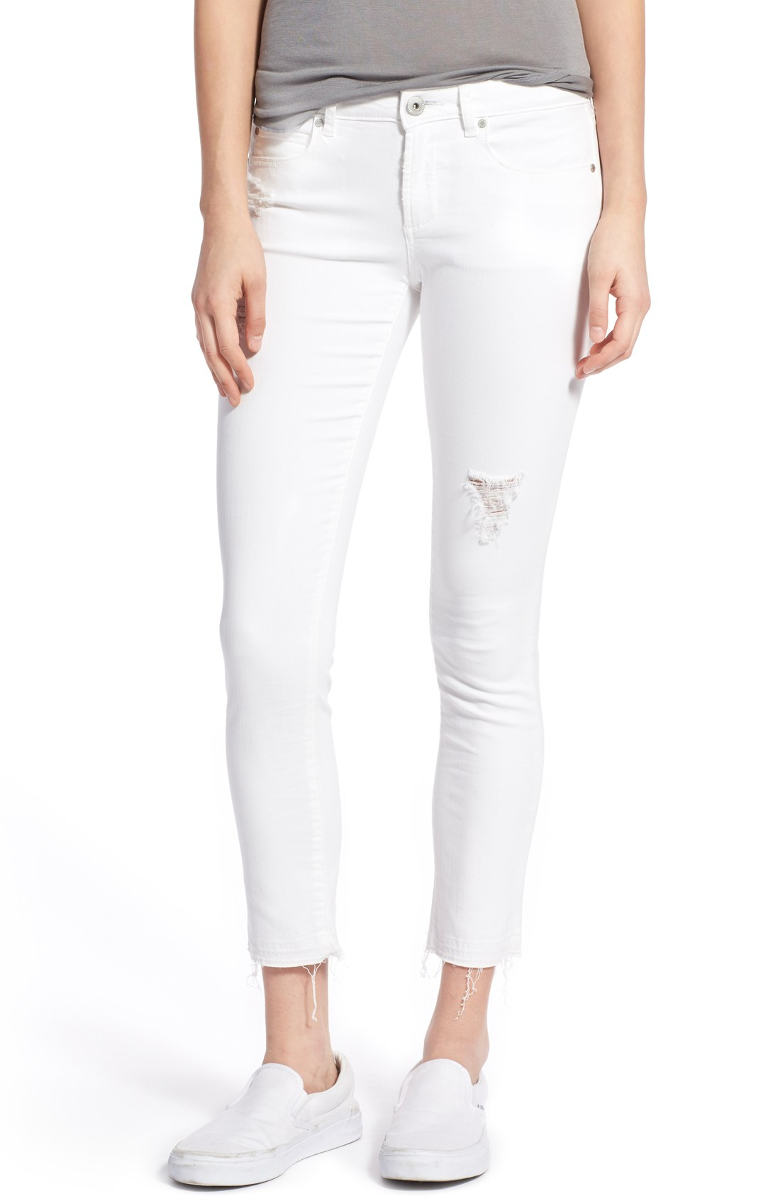 white jeans articles of society u0027carlyu0027 frayed hem crop skinny jeans (worn white) |  nordstrom JVKRPAJ
