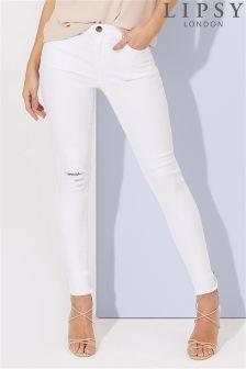 white jeans lipsy light abrasion skinny jeans EEEJSVI