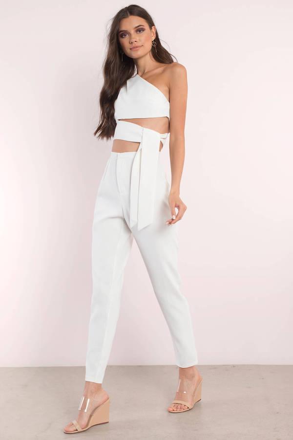 white jumpsuit jumpsuits, ivory, destiny one shoulder jumpsuit set, ... WVKUAHT