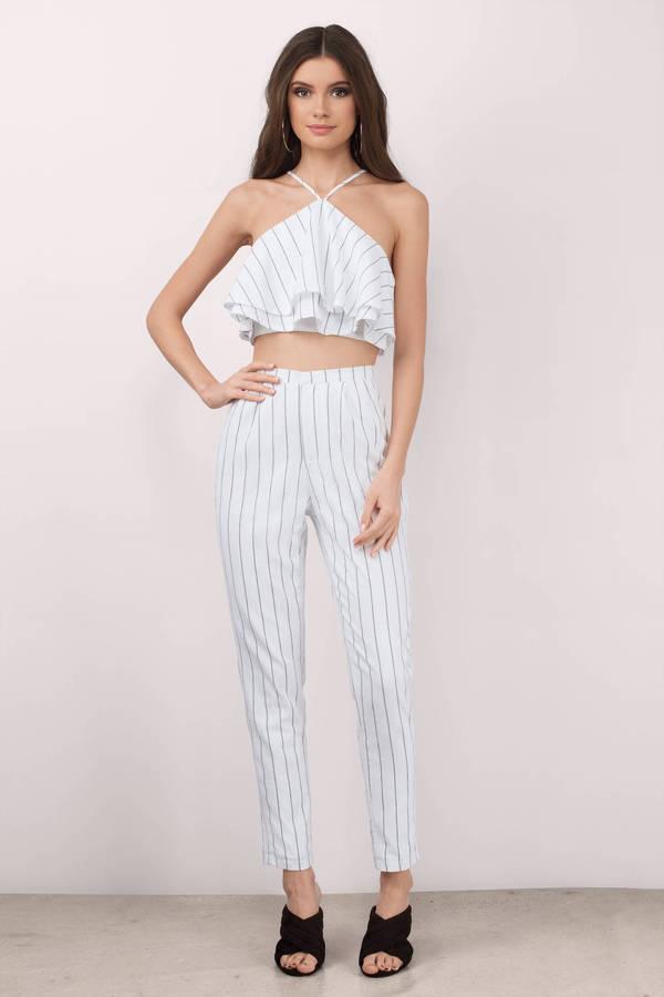 white jumpsuit jumpsuits, ivory, on trend striped jumpsuit set, ... CVNOHDK
