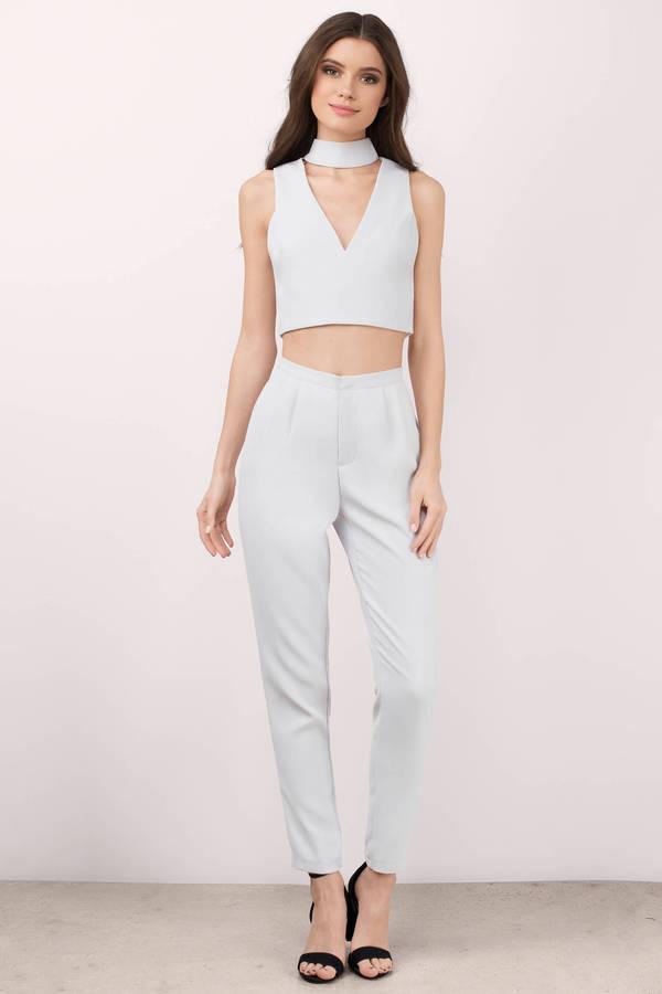 white jumpsuit jumpsuits, light blue, all about it choker jumpsuit set, ... XCVNKAE