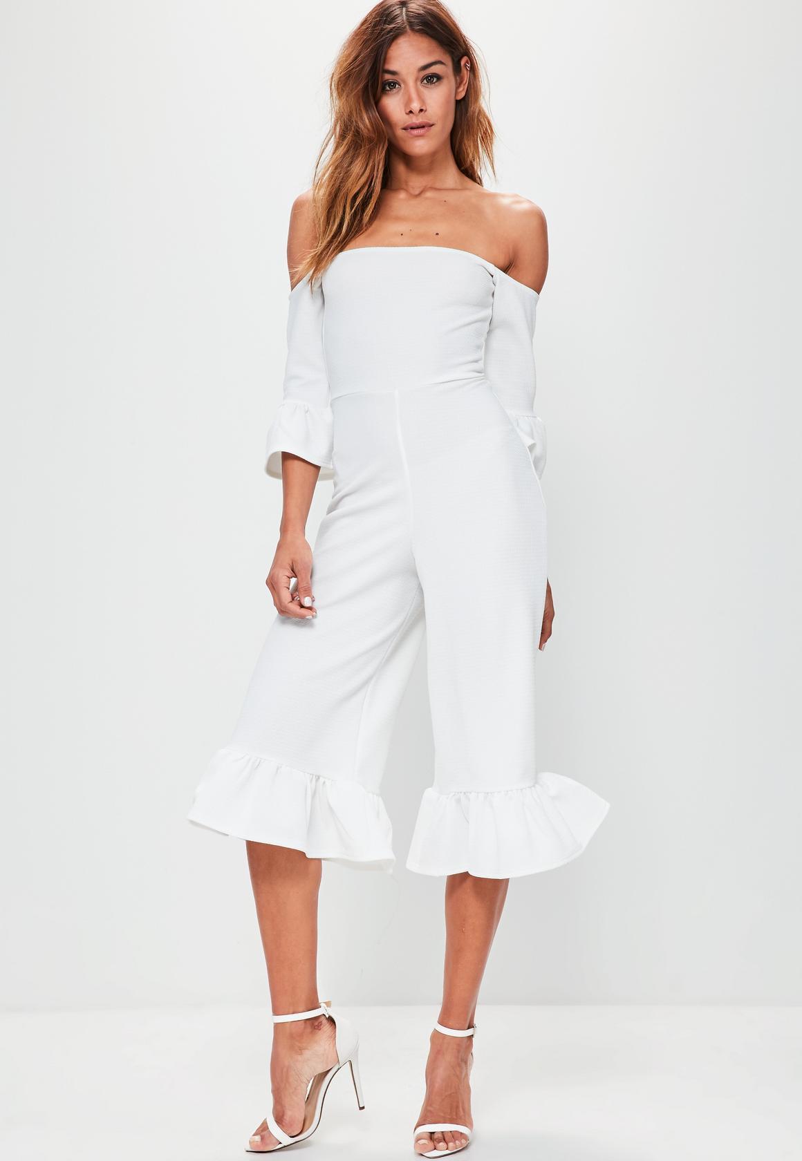 white jumpsuit white frill cuff culotte bardot jumpsuit white frill cuff culotte bardot  jumpsuit EBQTKMV