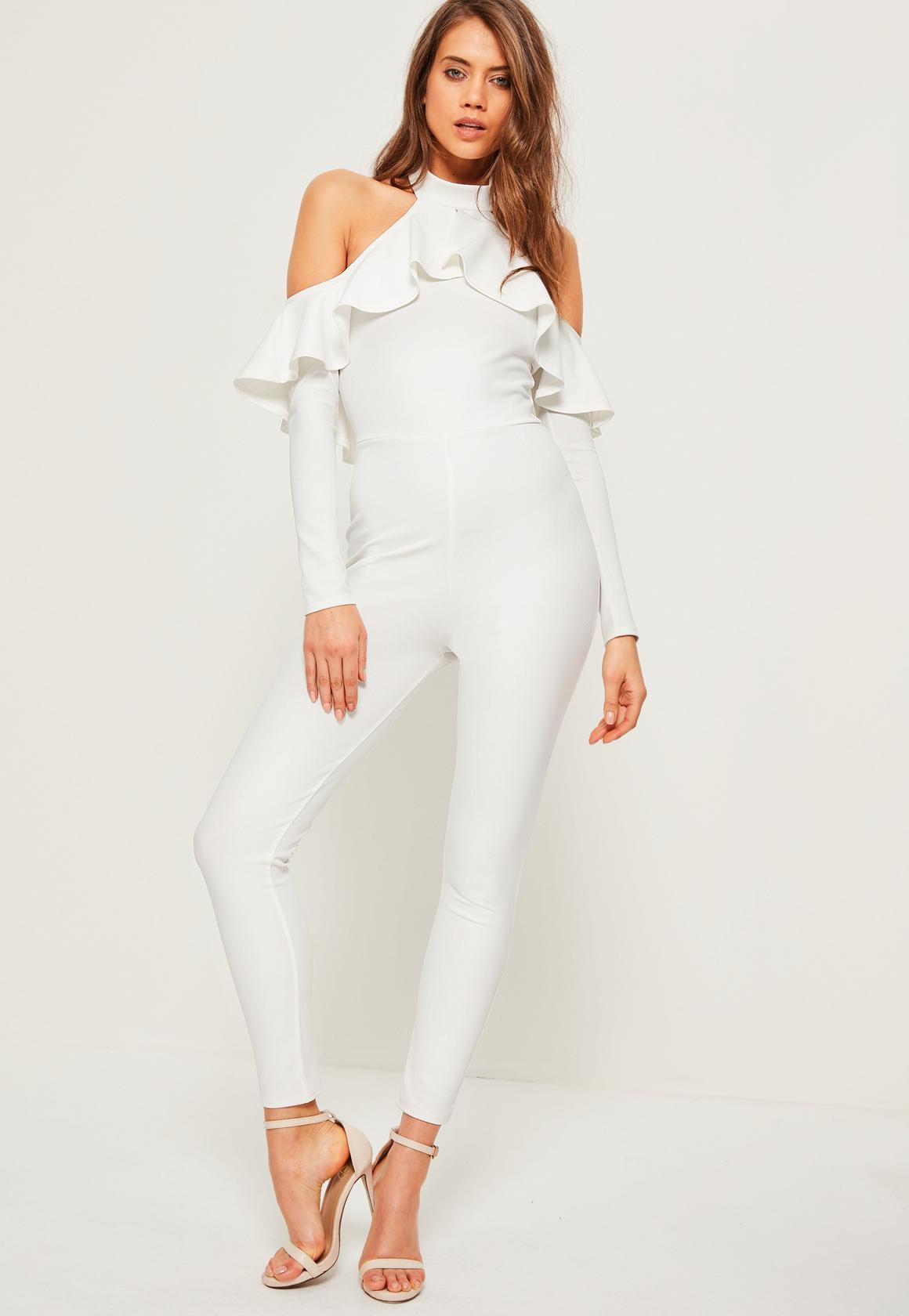 white jumpsuit white halter cold shoulder frill jumpsuit white halter cold shoulder frill  jumpsuit QQZOYWX