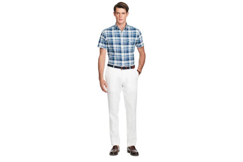 white pants an unfortunately transparent pair of slim-fit linen pants, $125 at polo  ralph lauren. VRYIQOP