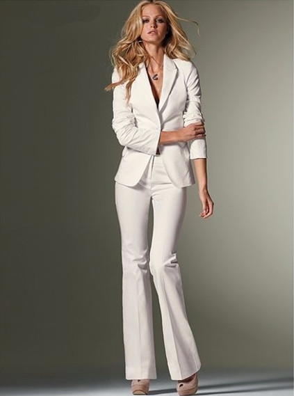 white suits for women custom women slim fit pant suits formal white office lady one button work  business BDAINBW