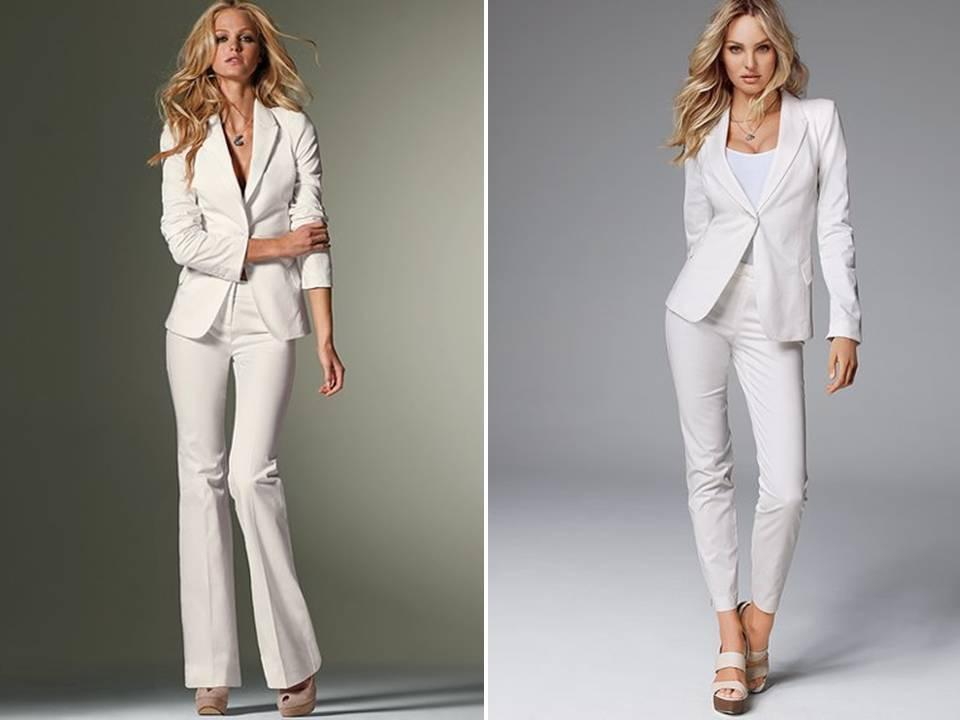 The most common and attractive wear: the white suits for women