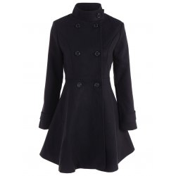 winter coats for women double breasted skirted coat - black 2xl YNTXALU