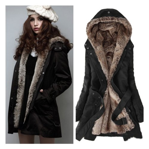 winter coats for women zicac womenu0027s thicken fleece faux fur warm winter coat hood parka overcoat  long jacket DZFVIUX