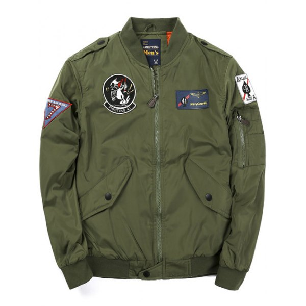 winter jackets for men badge patched zip up bomber jacket - army green l NCHGFYO