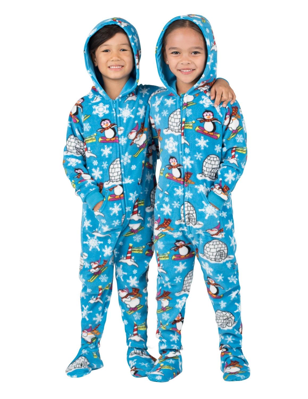 winter wonderland hooded footed pajamas ELPZMCG