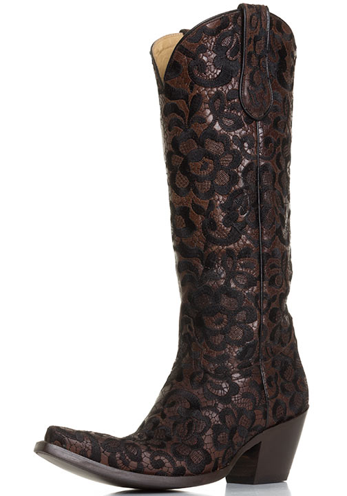 women cowboy boots corral womens western floral lace snip toe cowboy boots - chocolate/black LLSLOUP