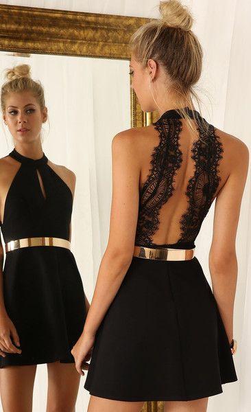 womenu0027s black sleeveless halter contrast lace backless dress VGBWXCE