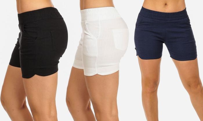 womenu0027s stretch-waist bermuda shorts: womenu0027s stretch-waist bermuda shorts UOKPDVX