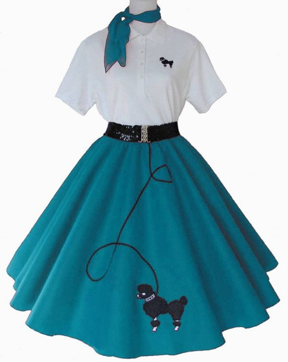 womens - 4 pc 50u0027s poodle skirt outfit for adult s m l xl 2x IRMSKGX