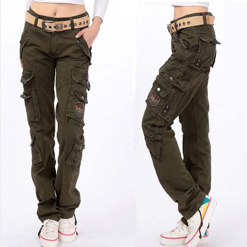 womens cargo pants fashion full pants 2017 women casual loose jogger cargo pants woman army  green overalls JSQLDZA